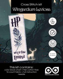 Counted Cross Stitch Kit of Bookmark Wingardium Leviosa